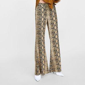Zara Python Print Flare Leg Trousers